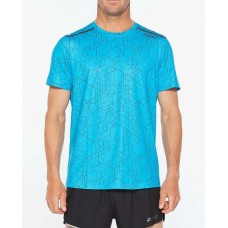 2XU GHST Running S/S Tee Matrix Aqua/Black Reflective