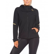 2XU GHST Waterproof Women Running Jacket Black/Gold Reflective