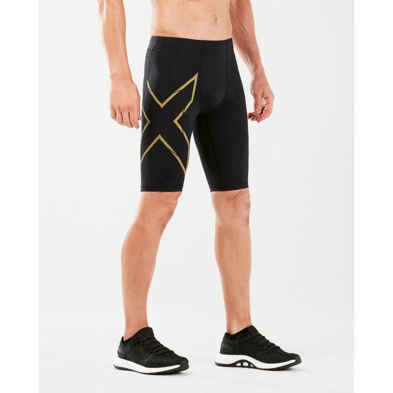 2XU MCS Running Compression Shorts Black/Gold Reflective