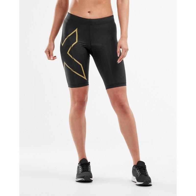2XU MCS Running Women Shorts Black/Gold Reflective