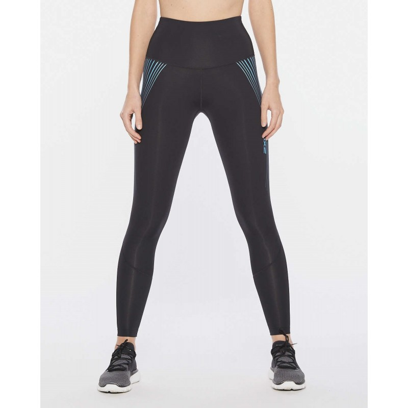 2XU Motion Hi-Rise Compression Women Tights Black/Teal Chrome Lines