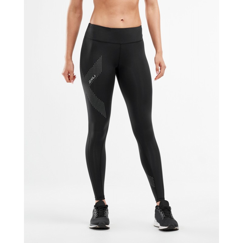 2XU Motion Mid-Rise Compression Women Tights Black/Dotted Reflective Logo