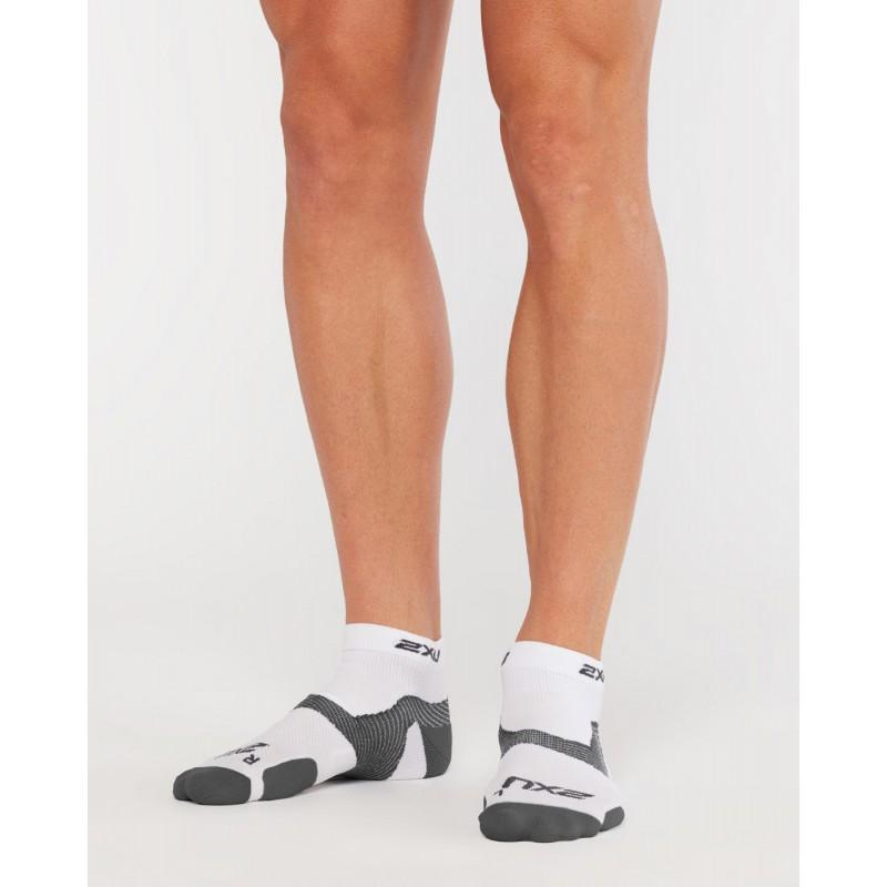 2XU Vectr Light Cush 1/4 Crew Socks White/Grey