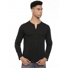 2GO Men Cotton rich Henley Neck Full Sleeves T-Shirt Bold Black (EL-GTS412-A9)