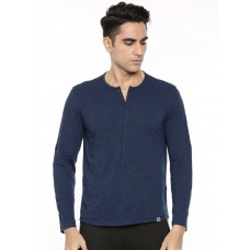 2GO Men Cotton rich Henley Neck Full Sleeves T-Shirt Prussian Blue (EL-GTS412-A9)