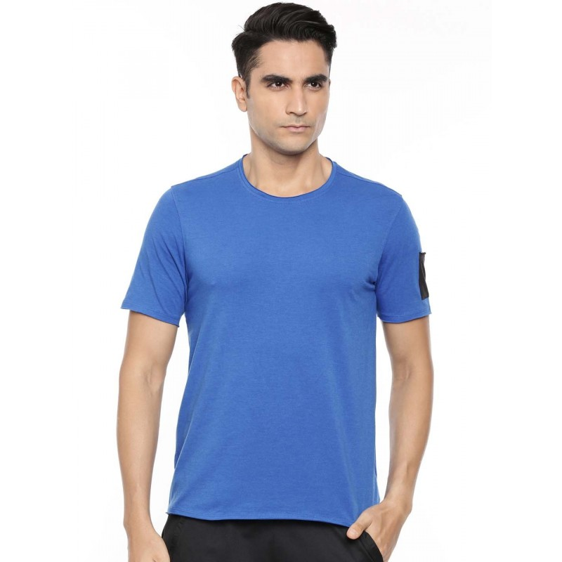 2GO Men Cotton Rich Round Neck Short Sleeves T-Shirt Sapphire Blue (EL-GTS410-A9)