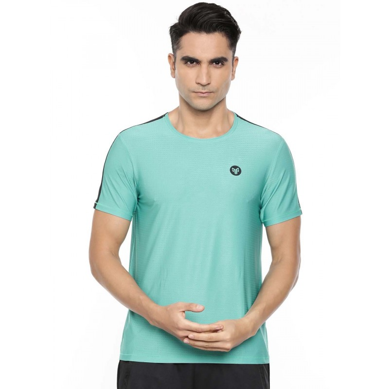 2GO Men Round Neck Half sleeves Sports T-Shirt Aqua (EL-GTS321-A9)