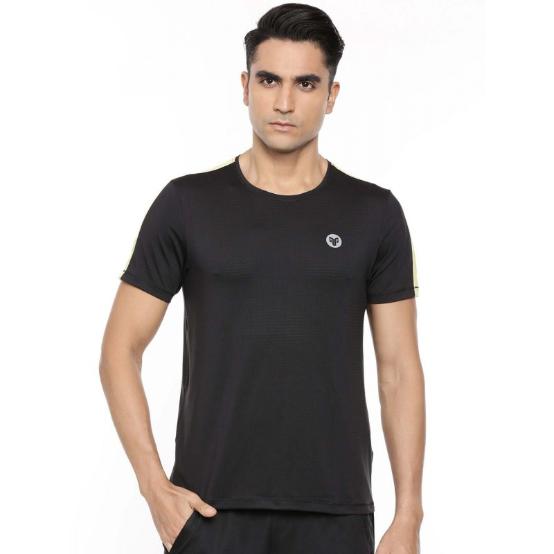 2GO Men Round Neck Half sleeves Sports T-Shirt Bold Black (EL-GTS321-A9)