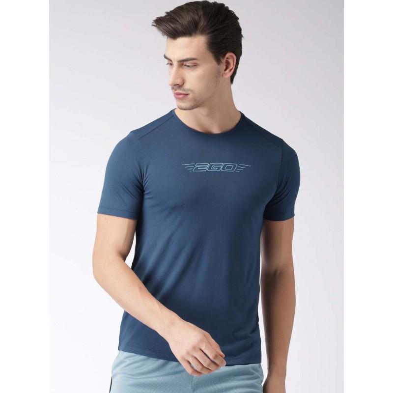 2GO Men Navy Printed Round Neck T-Shirt Prussian Blue (EL-GTS137-S8)