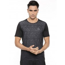 2GO Men Round Neck Shorts Sleeves T-Shirt Bold Black (EL-GTS413-A9)