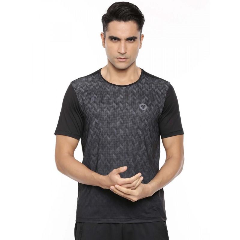 2GO Men Round Neck Shorts Sleeves T-Shirt Bold Black (EL-GTS413-A9)