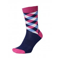 2GO Pull Up Length Cycling Socks Dark Blue Light Pink