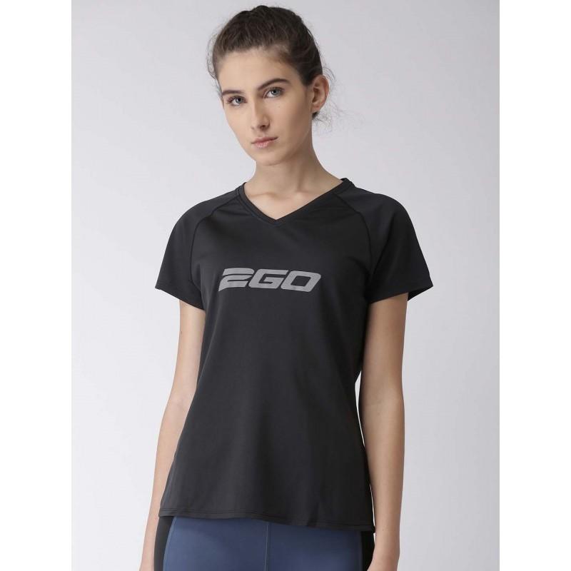 2GO Women Black Printed V-Neck T-Shirt Raven (EL-WTS186-S8)