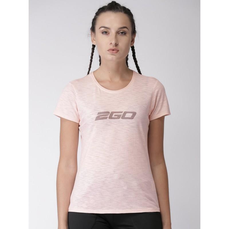 2GO Women Pink Printed Round Neck Essential T-Shirt Blush (EL-WTS179-S8)