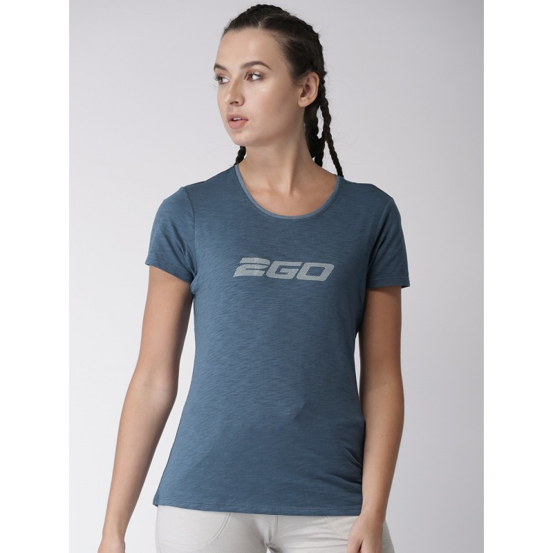 2GO Women Navy Printed Round Neck Essential T-Shirt Prussian Blue (EL-WTS179-S8)