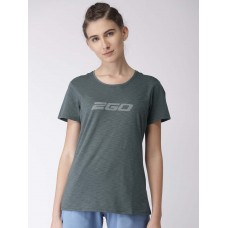 2GO Women Charcoal Printed Round Neck Essential T-Shirt Shark Grey (EL-WTS179-S8)