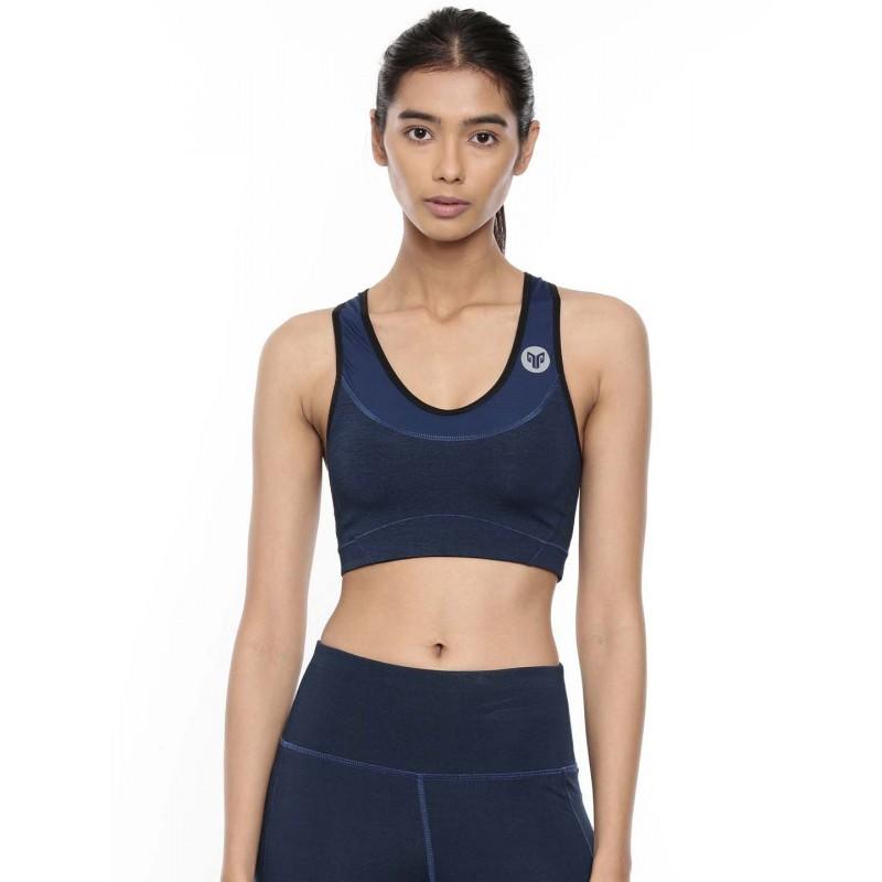 2GO Women Round Neck Running Sports Bra Prussian Blue (EL-WSB324-A9)