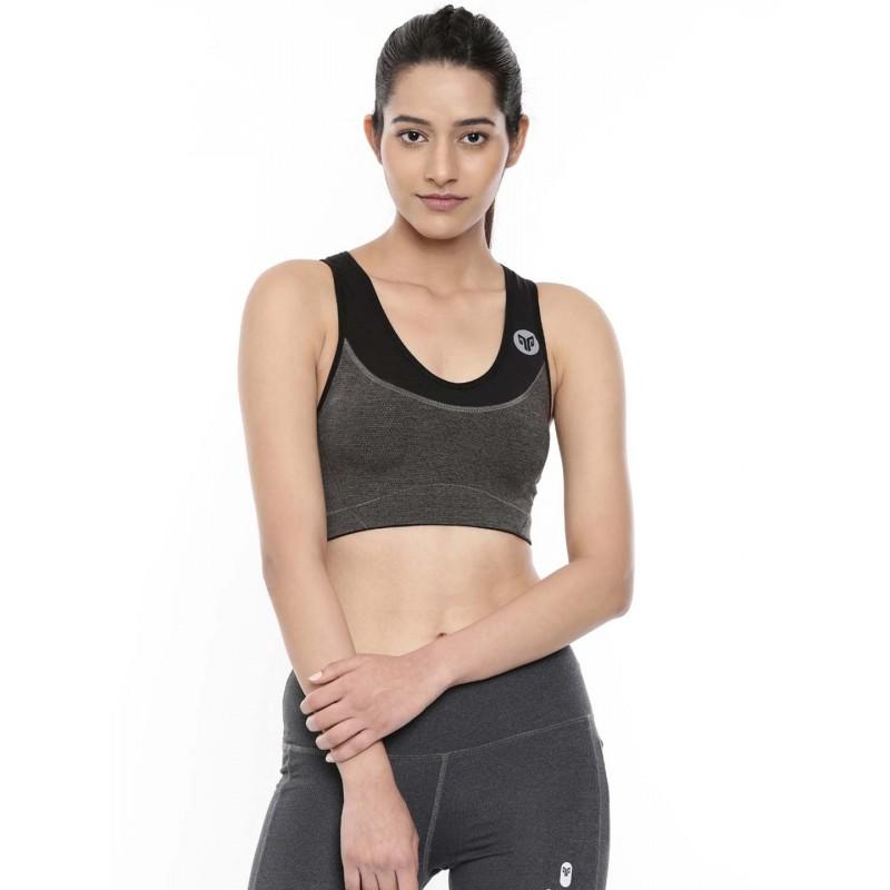 2GO Women Round Neck Running Sports Bra Shark Grey Bold Black (EL-WSB324-A9)