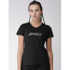 2GO Women Black Printed V-Neck Essential T-Shirt Raven (EL-WTS180-S8)