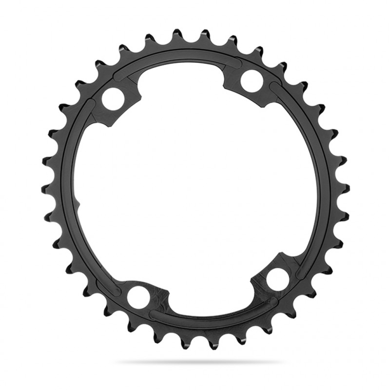 Absolute Black Oval Road Chainring 2X110-4 Shimano 9100-34T-Black