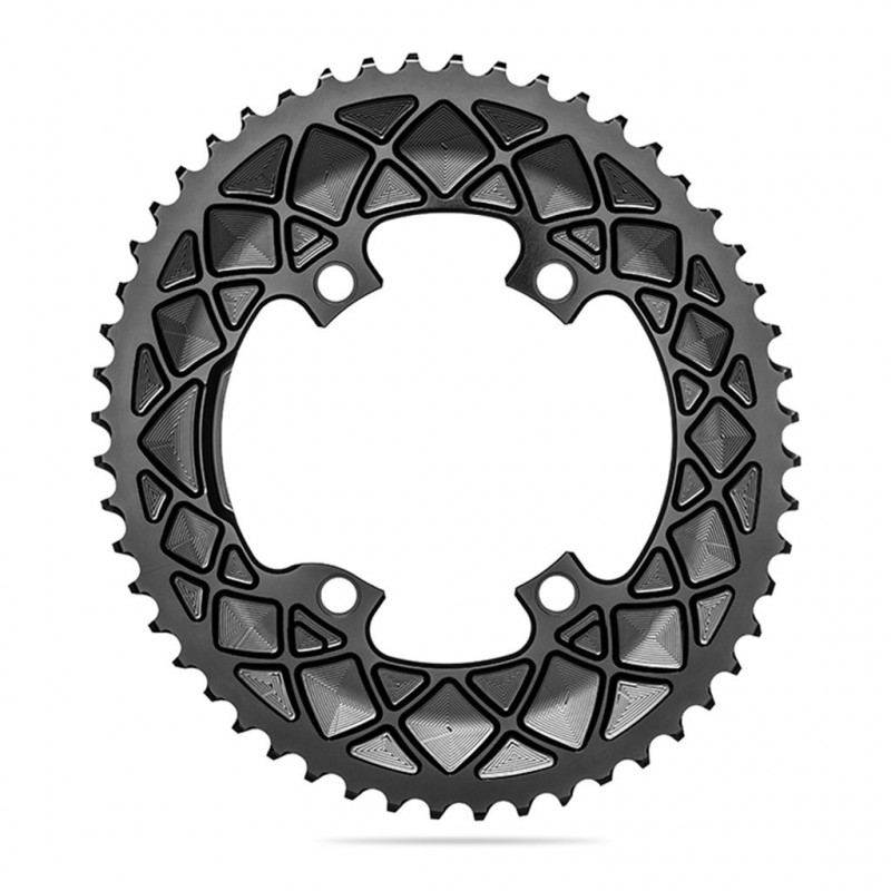 Absolute Black Oval Road Chainring 2X110-4 Shimano 9100-53T-Black