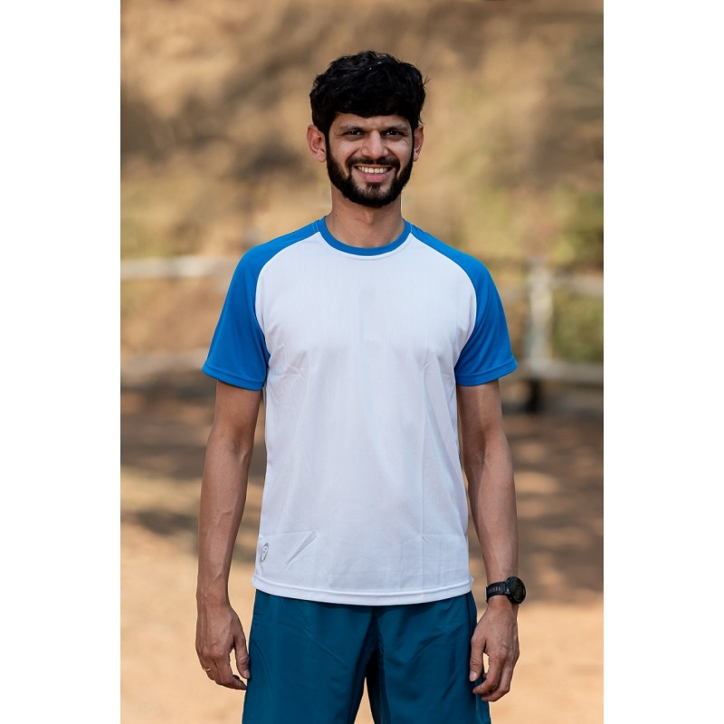 Apace Roundneck Comfort-Fit Easy Mens Running Tshirt White-Blue