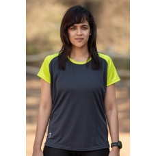 Apace Roundneck Comfort-Fit Easy Womens Running Tshirt Grey-Lime