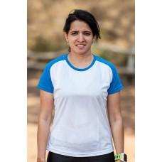 Apace Roundneck Comfort-Fit Easy Womens Running Tshirt White-Blue