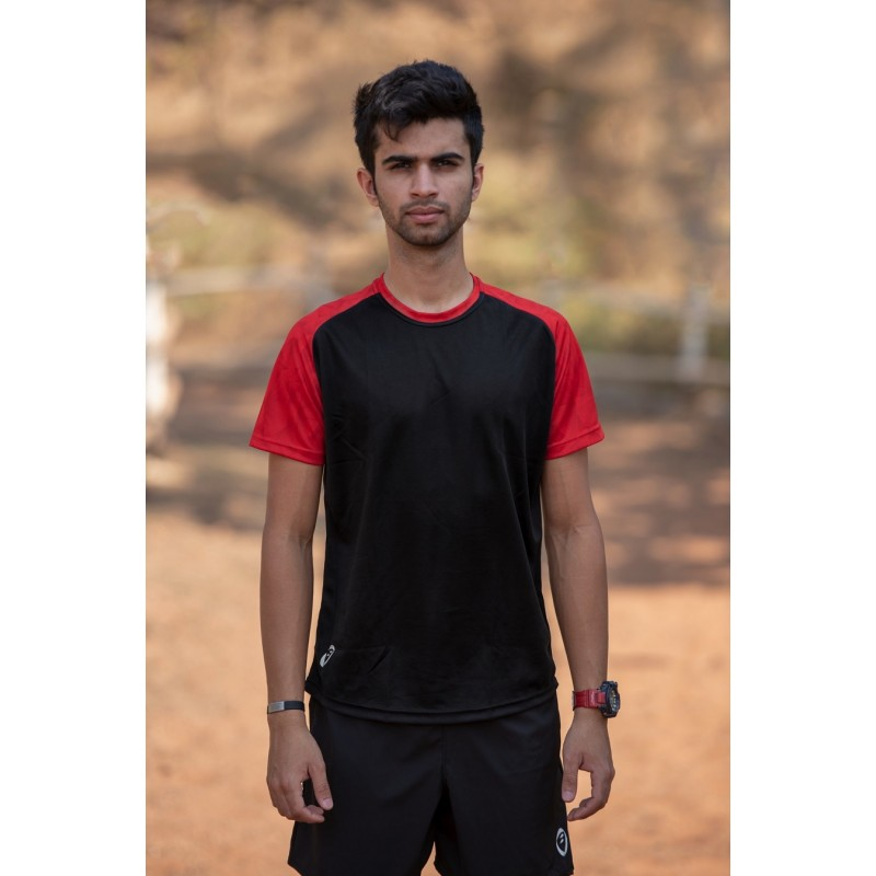 Apace Roundneck Comfort-Fit Easy Mens Running Tshirt Black-Red