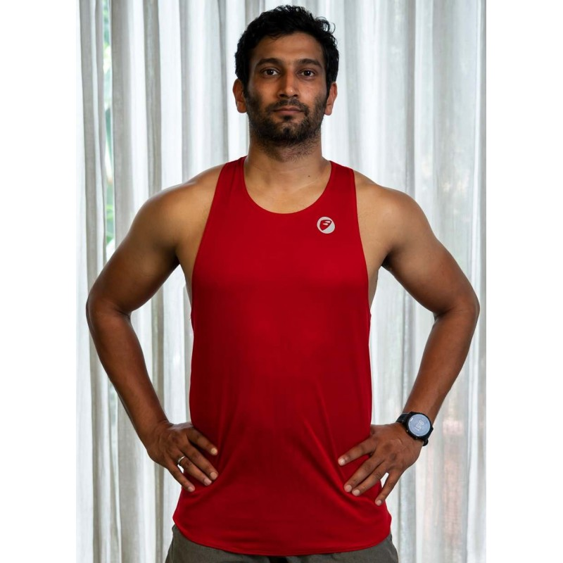 Apace Mens Running Singlet Lightweight Stride Red