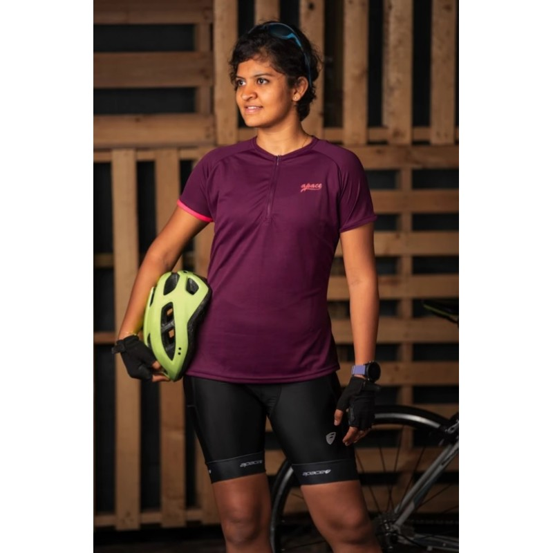 Apace 2019 Freewheel Womens Cycling Tshirt Aubergine