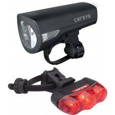 Cateye Lampset HL-EL340 Econom And TL-LD630-R Rapid 3 Bicycle Headlight and Taillight Set