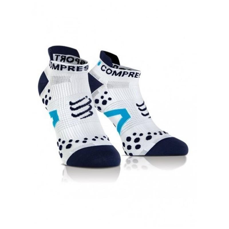 Compressport Racing Socks V2.1 Run Lo White/Blue