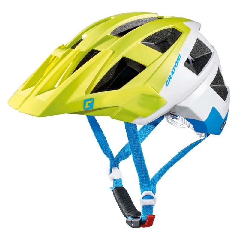 Cratoni Allset MTB Helmet Lime White Blue Matt