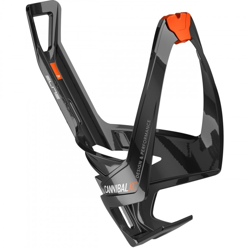 Elite Cannibal XC Glossy Black Bottle Cage With Orange Graphic