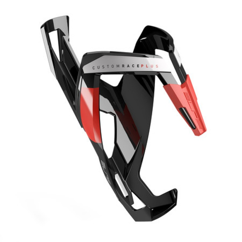 Elite Custom Race Plus Bottle Cage Glossy Black With Red Graphics