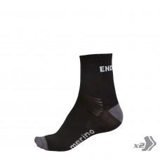 Endura BaaBaa Merino Cycling Socks Twin Pack Black