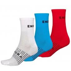Endura CoolMax Race Socks (Triple Pack) White , Ocean Blue & Red
