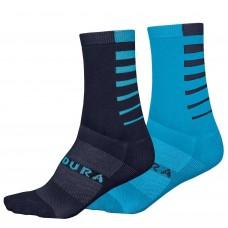 Endura CoolMax Stripe II Socks (Twin Pack) Dark Blue & Ocean Blue