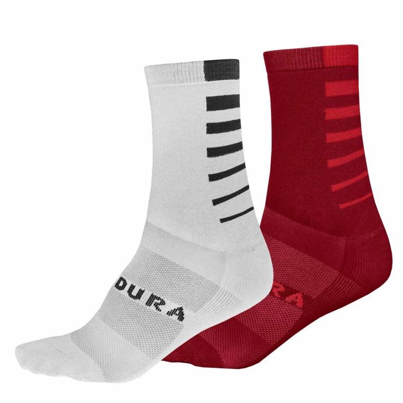 Endura CoolMax Stripe Socks (Twin Pack) White And Rust Red