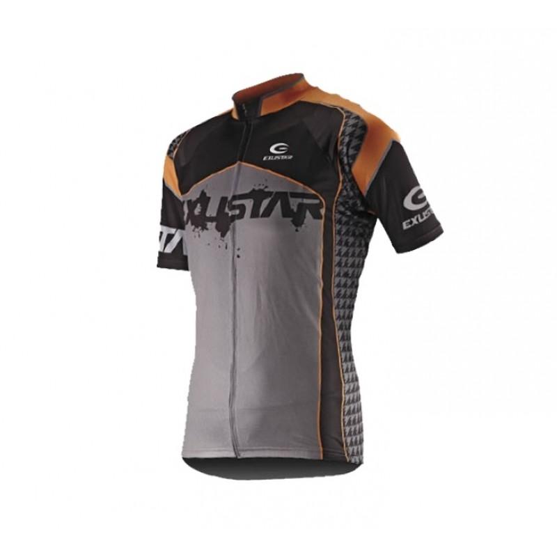 Exustar Cycling Jersey Black Grey Orange