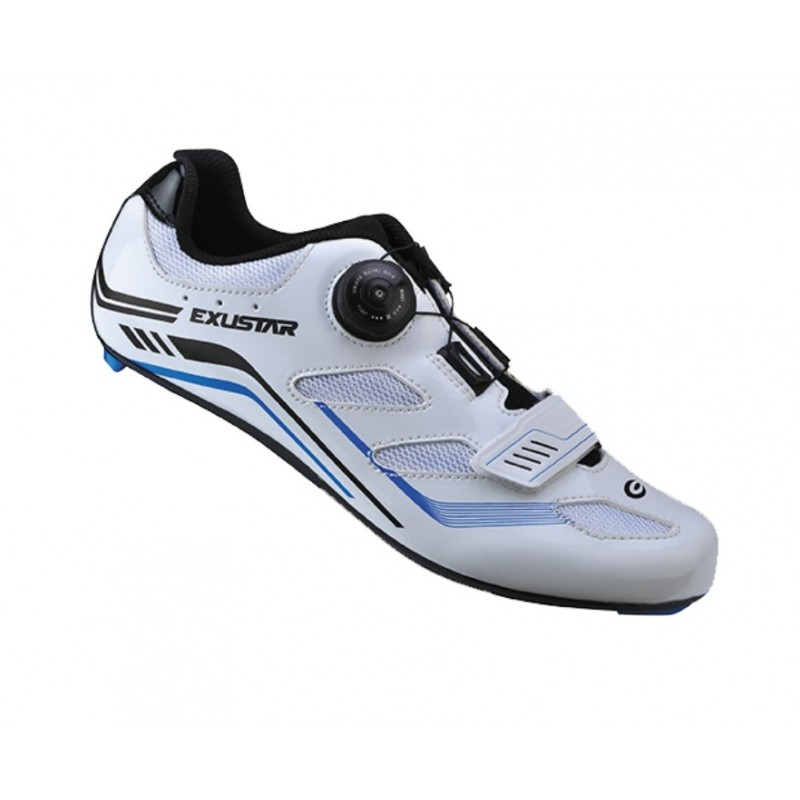 Exustar Cycling Road Shoe White Blue