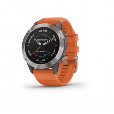 Garmin Fenix 6 Smart Watch Sapphire Titanium With Ember Orange Band