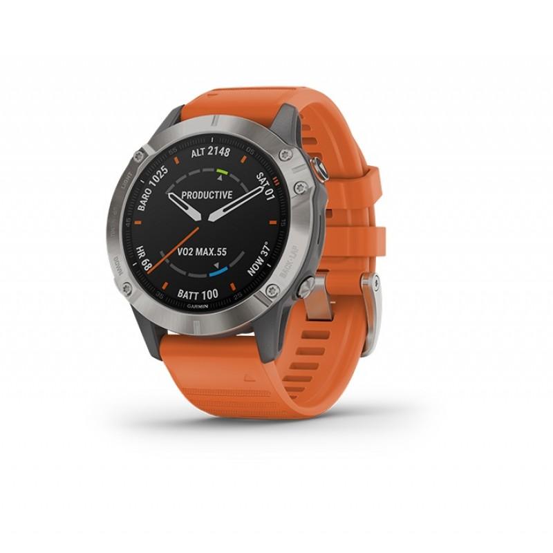 Garmin Fenix 6 Smart Watch Sapphire Titanium With Ember Orange Band