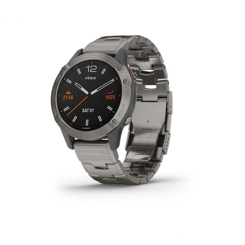 Garmin Fenix 6 Smart Watch Sapphire Titanium With Vented Titanium Bracelet