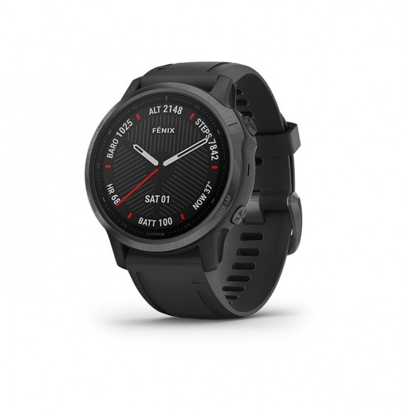 Garmin Fenix 6S Smart Watch Sapphire Carbon Gray DLC with Black Band
