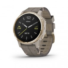 Garmin Fenix 6S Smart Watch Sapphire Light Gold-tone with Shale Gray Leather Band