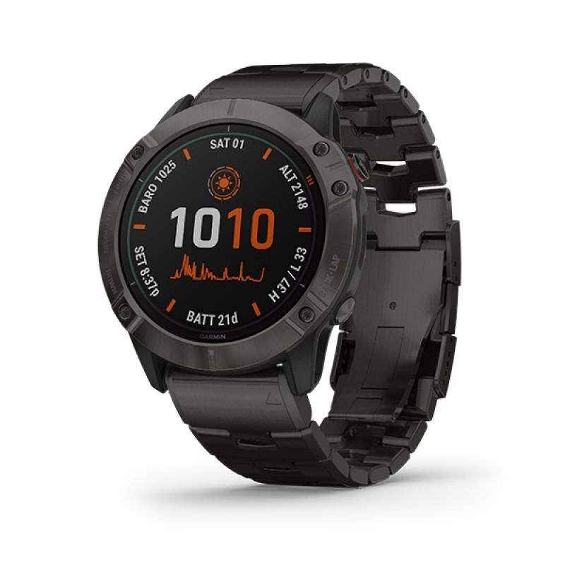Garmin Fenix 6X Pro Solar Smart Watch Titanium with Vented Titanium Bracelet