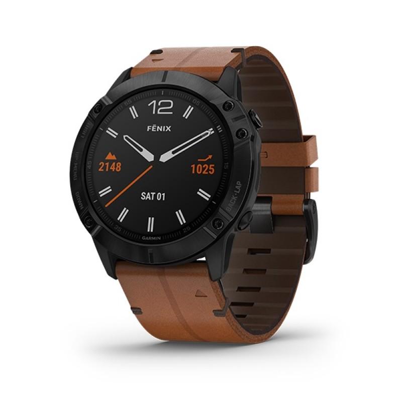 Garmin Fenix 6X Smart Watch Sapphire Black DLC with Chestnut Leather Band