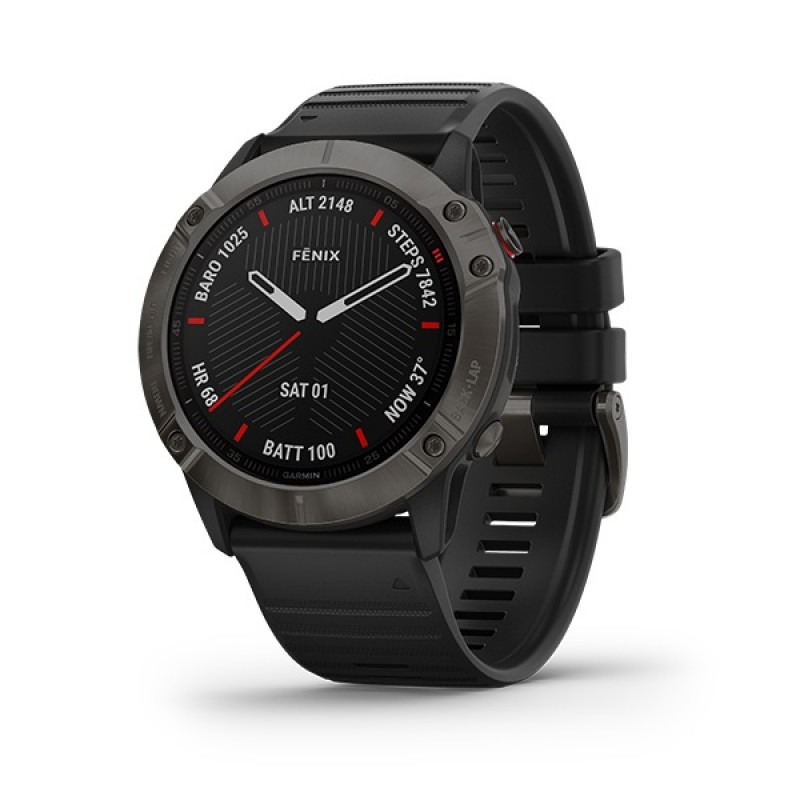 Garmin Fenix 6X Smart Watch Sapphire Carbon Gray DLC with Black Band